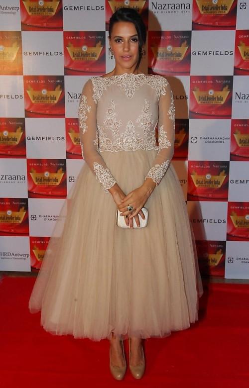 Need this cream embellished midi flared dress that Neha Dhupia is wearing.. - SeenIt