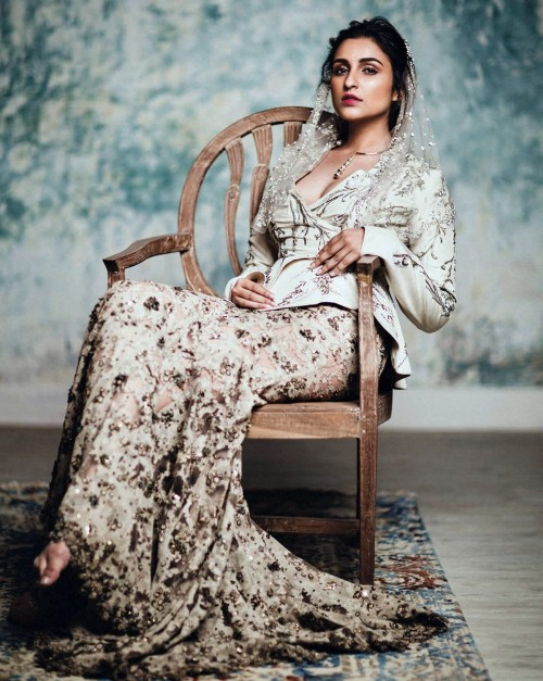Yay or Nay? Parineeti Chopra in this white embroidered lehenga and jacket for a photo shoot with Harper Bazaar Magazine. - SeenIt