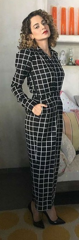 Yay or Nay? Kangana Ranaut is looking chic wearing this black and white check jumpsuit for the promotion of her latest movie Rangoon. - SeenIt