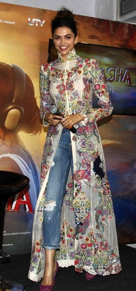 What is your opinion on Deepika Padukone's white floral maxi top she wore for her movie Tamasha's promotion? - SeenIt