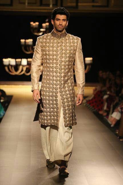 What do you think of Aditya Roy Kapoor's beige embroidered sherwani? - SeenIt
