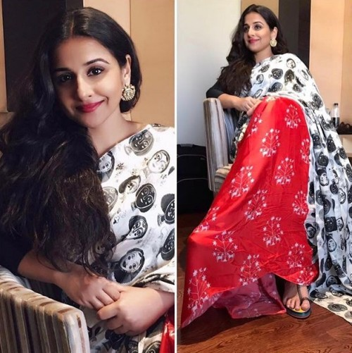 Looking for this Masaba Gupta red and white printed saree that Vidya Balan is wearing.. Any idea?? - SeenIt