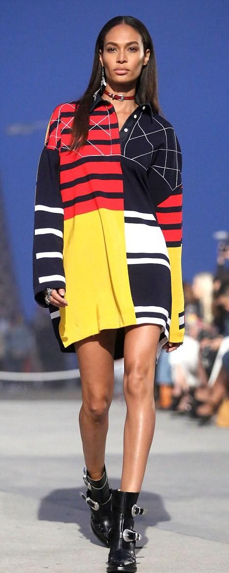 Can you look for this bright red, navy, yellow and white color block shirt dress with stripes that Joan Smalls is wearing? Would love to wear this!! - SeenIt