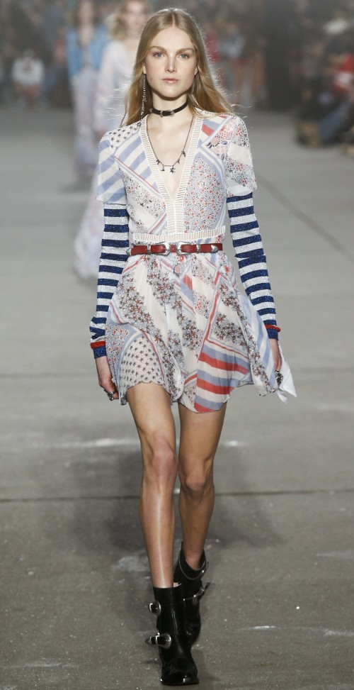 The white, blue, red floral and star print striped mini dress is what I am looking for! - SeenIt