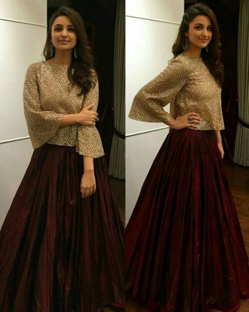 Yay or Nay? Parineeti Chopra in a golden blouse and Maroon maxi skirt. - SeenIt