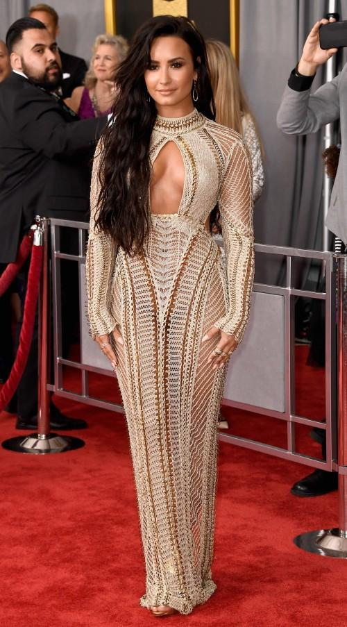 Yay or Nay?? Demi Lovato in a Julien Macdonald gown at the 59th annual Grammy Awards - SeenIt