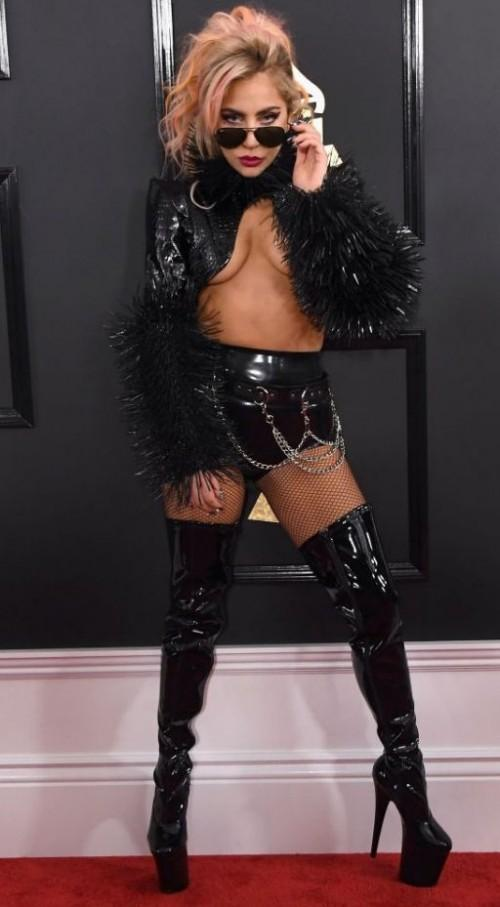 Yay or Nay?? Lady Gaga in a black Alex Unichny rocker outfit at the Grammy Awards last night - SeenIt