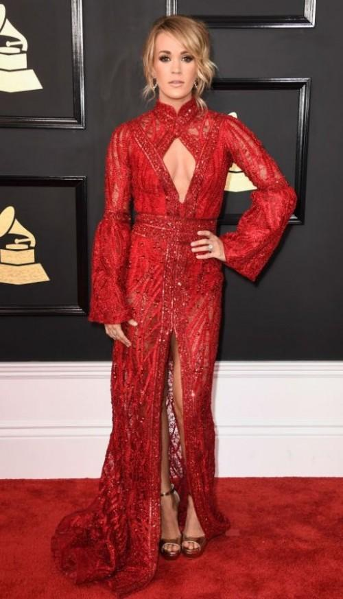 Yay or Nay?? Carrie Underwood attended the Grammy Awards last night in an Elie Madi red sequin gown - SeenIt