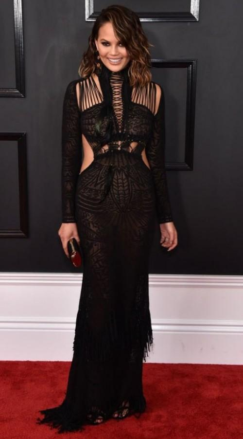 Yay or Nay?? Chrissy Teigan spotted at the Grammy Awards in a Roberto Cavalli black ensemble - SeenIt