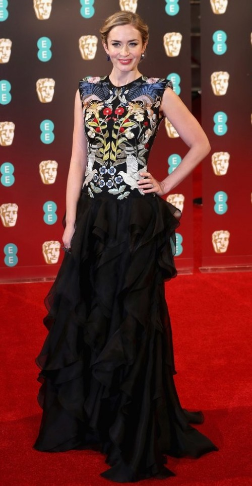 Yay or Nay?? Emily Blunt attended the BAFTA Awards 2017 in her black Alexander McQueen embroidered ruffle gown. - SeenIt