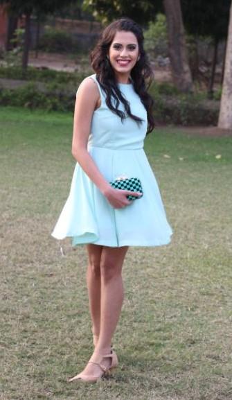 Need this light blue sleeveless skater mini dress and the sea green box clutch. - SeenIt