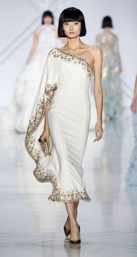 Yay or Nay? White embellished one shoulder ruffled midi dress by Ralph & Russo. - SeenIt