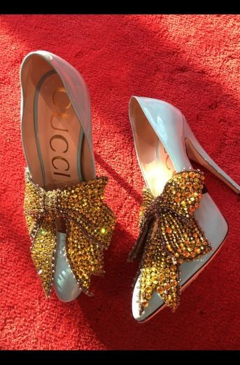 Yay or Nay? Baby blue stiletto pumps with golden sequin embellished bow. - SeenIt