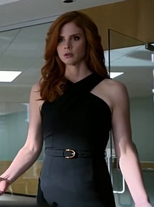 want a similar black cross neck dress like donna wore in suits - SeenIt