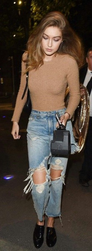 Want similar beige top paired with knee ripped jeans and black shoes that Gigi Hadid is wearing. (Indian sites please) - SeenIt