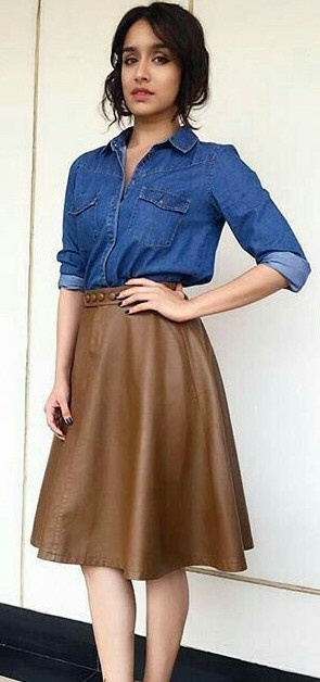 Yay or Nay? Shraddha Kapoor trending in blue denim shirt and brown leather skirt. - SeenIt