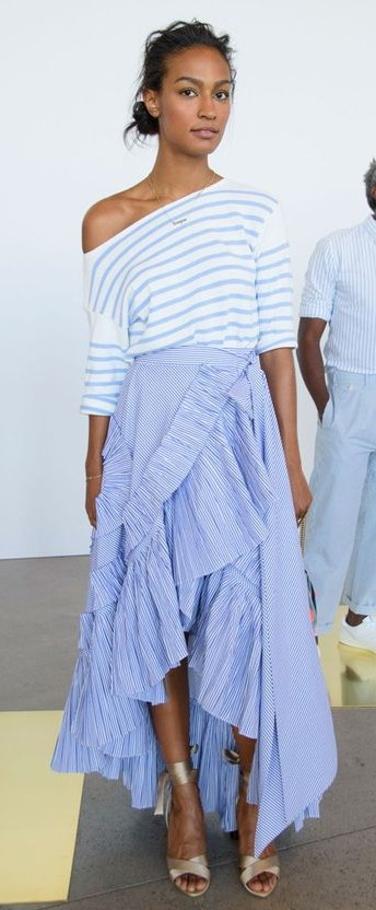 Yay or Nay? Blue ruffled asymmetric long skirt paired with white and blue striped one shoulder top. - SeenIt