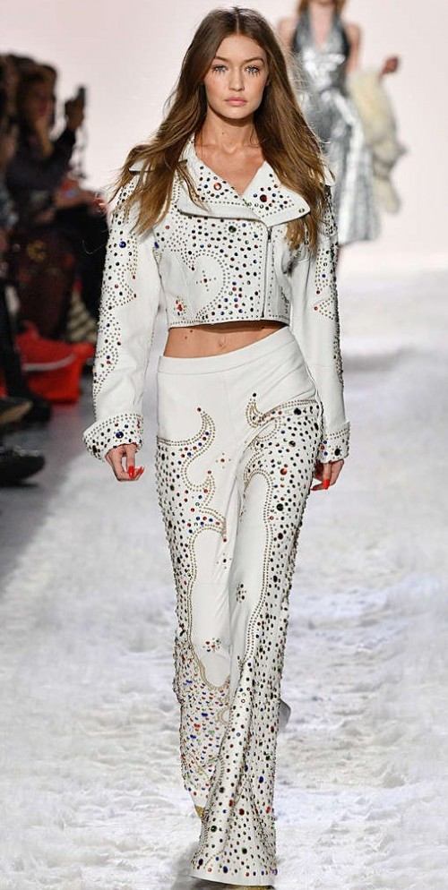 Yay or Nay? Gigi Hadid in a gem encrusted two piece on the runway during the New York Fashion week - SeenIt
