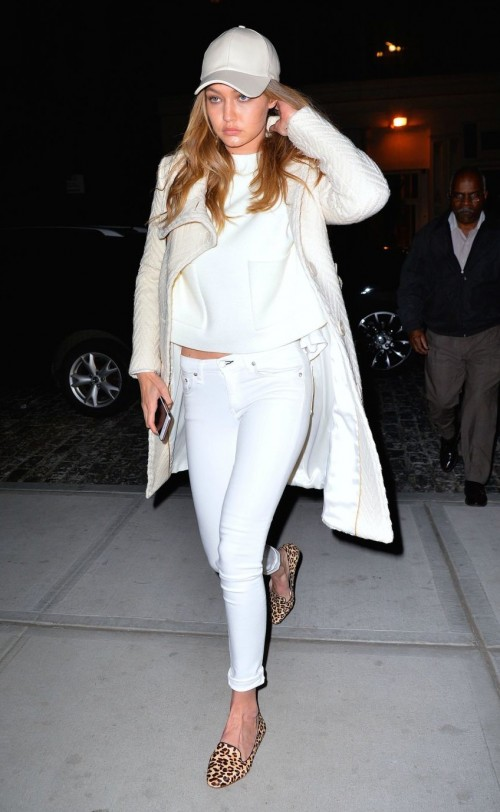 want Gigi Hadid's white baseball cap and leopard print loafers. Indian sites pls. - SeenIt