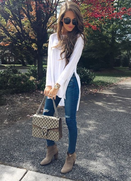 looking for a similar white side slitted maxi top with basic blue denims sexy, cool casual - SeenIt