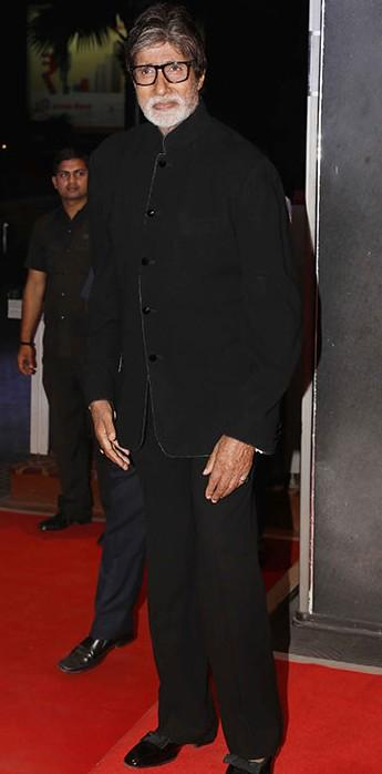 Yay or Nay? Amitabh Bachchan attends the wedding reception of Neil Nitin Mukesh in a black bandhgala suit - SeenIt