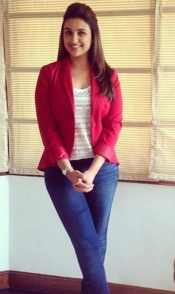Want the red jacket and blue jeans that Parineeti Chopra is wearing. - SeenIt