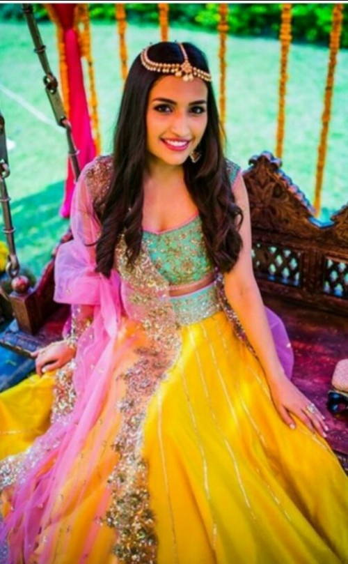 Want this pink and yellow embroidered lehenga - SeenIt