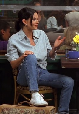 want this same denim on denim shirt and jeans look like monica's from friends tv show - SeenIt