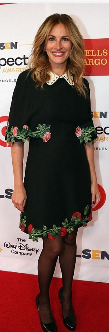 Yay or Nay? The black floral embroidered dress with collar that Julia Roberts is wearing. - SeenIt