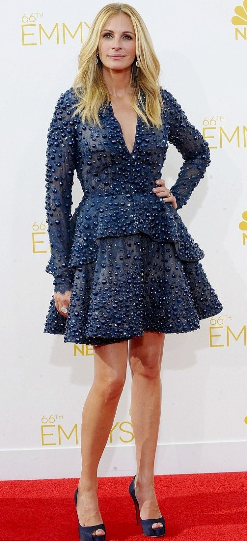 Yay or Nay? Need your opinion on this navy blue full sleeves stone embellished flared dress that Julia Roberts is wearing with peep toe heels. - SeenIt