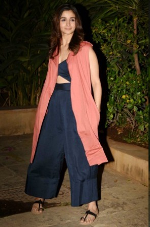 Yay or Nay? Alia Bhatt in a blue and pink palazzo and crop top outfit at Shahid Kapoor's Pre-Birthday Bash - SeenIt