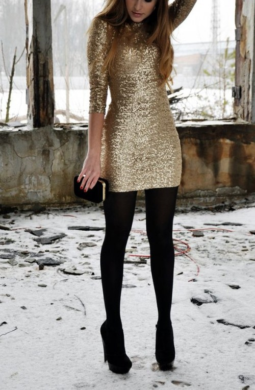 Similar to the gold sequin dress ,black boots, black ankle boots and black clutch - SeenIt
