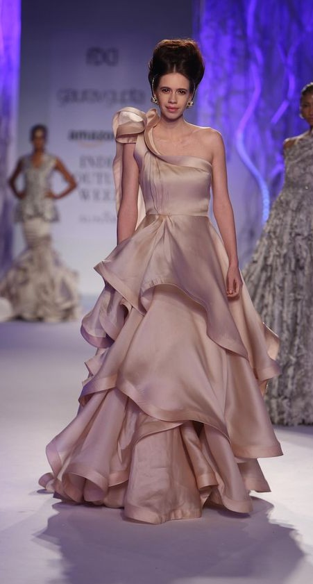 Yay or Nay? Kalki Koechlin in a magnificent beige one shoulder ruffled gown. - SeenIt