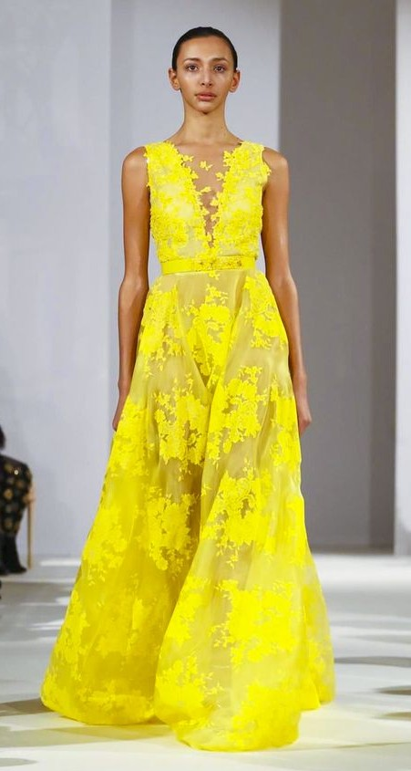 Yay or Nay? Let me know your opinion on this yellow embroidered sheer sleeveless gown. - SeenIt