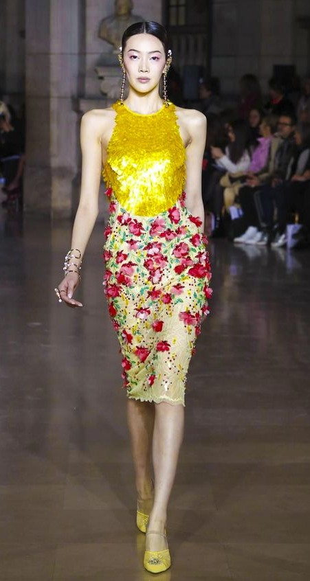 Yay or Nay? This golden fringed top with red flower embellished yellow midi pencil skirt - SeenIt