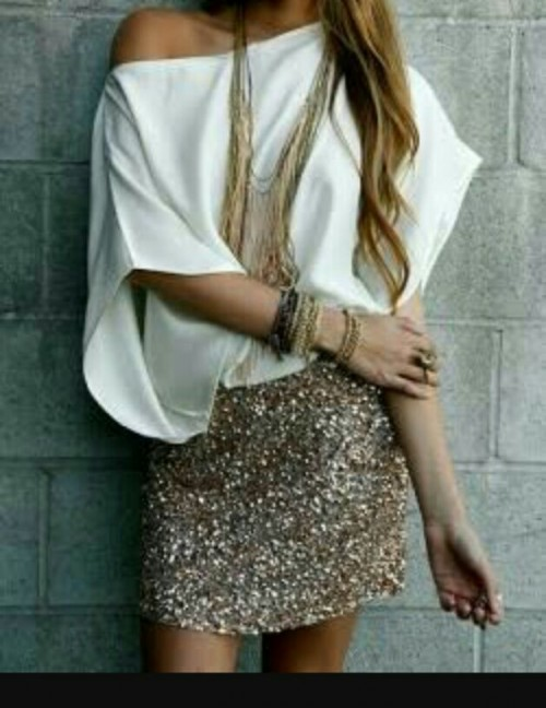 want this white top and gold sequined skirt! - SeenIt