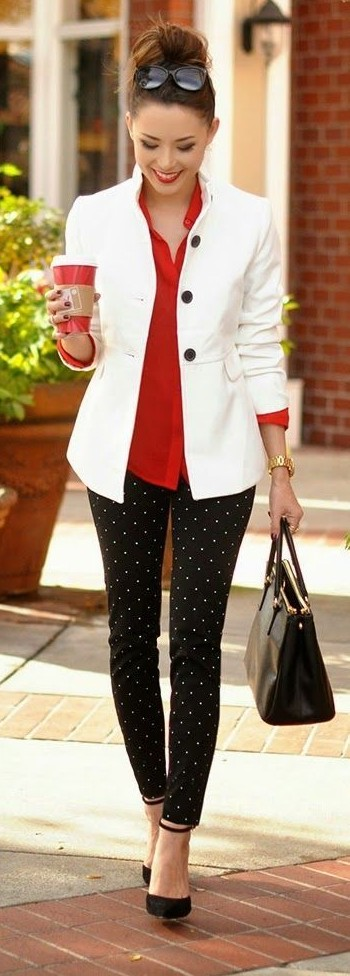 Want similar outfit. The white jacket with red shirt and black polka dot pants - SeenIt