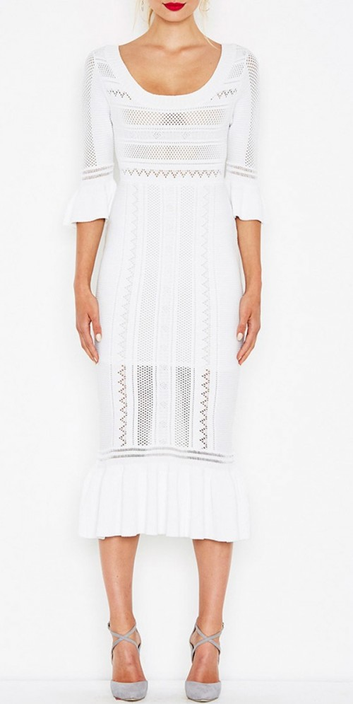 This white knit ruffled hem midi dress is brunch outfit goals! Want this now! - SeenIt