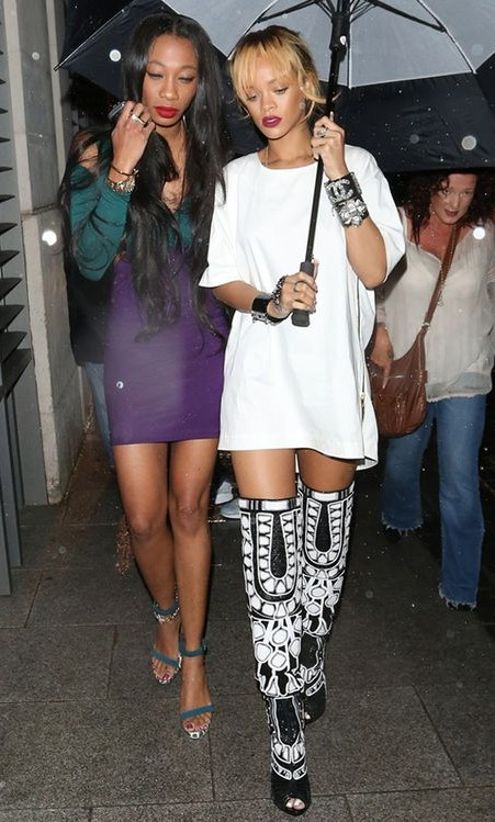 Yay or nay? The black aand white high boots that Rihanna is wearing - SeenIt