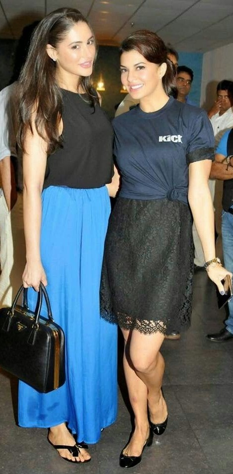 Looking for the black crop top with blue palazzo pants that Nargis Fakri is wearing - SeenIt
