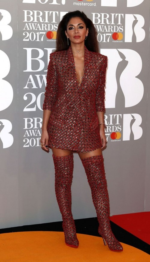 Yay or Nay? Nicole Sherzinger in a red gold blazer style dress and thigh high boots at the BRIT awards - SeenIt