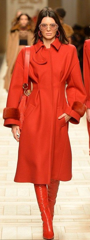 Yay or Nay? Kendall Jenner in all red coat and boots? - SeenIt