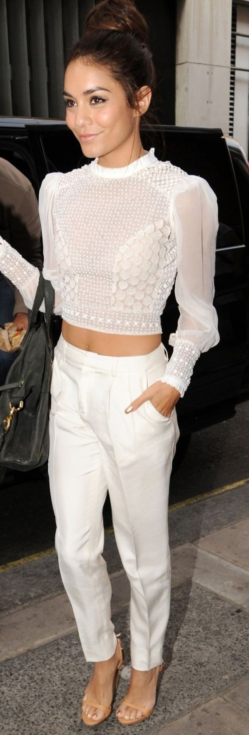 Yay or Nay? Venessa Hudgens in a white lace crop top and pants - SeenIt