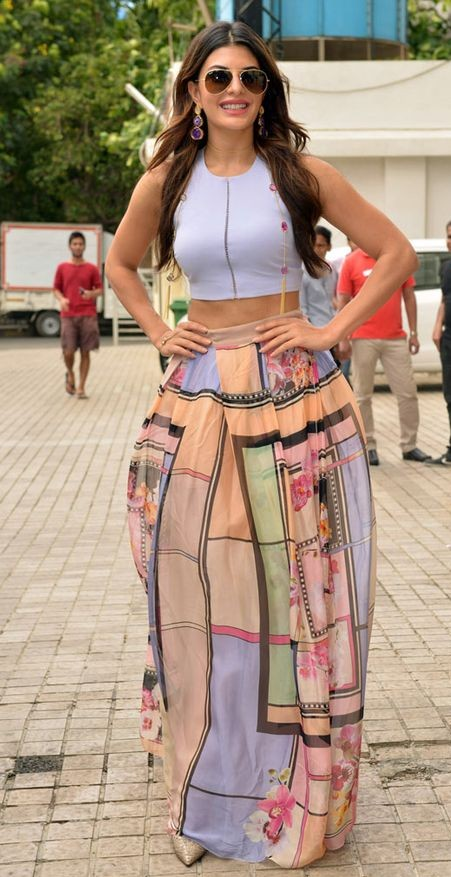 Yay or Nay? Jacqueline Fernandez in a white crop top and a quirky print maxi skirt - SeenIt