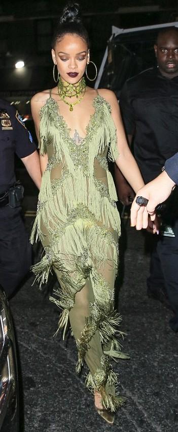 Yay or Nay? Rihanna in a green dress - SeenIt
