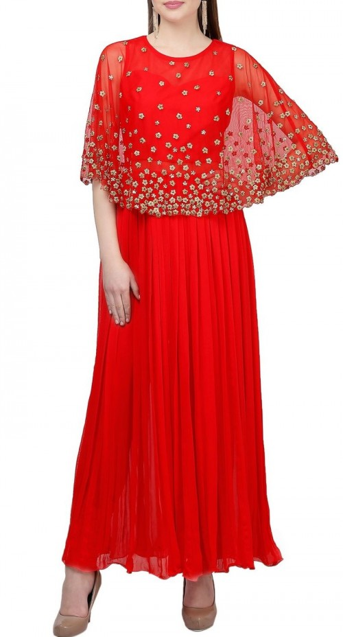 I'm looking for this beautiful Red Georgette Anarkali suit - SeenIt