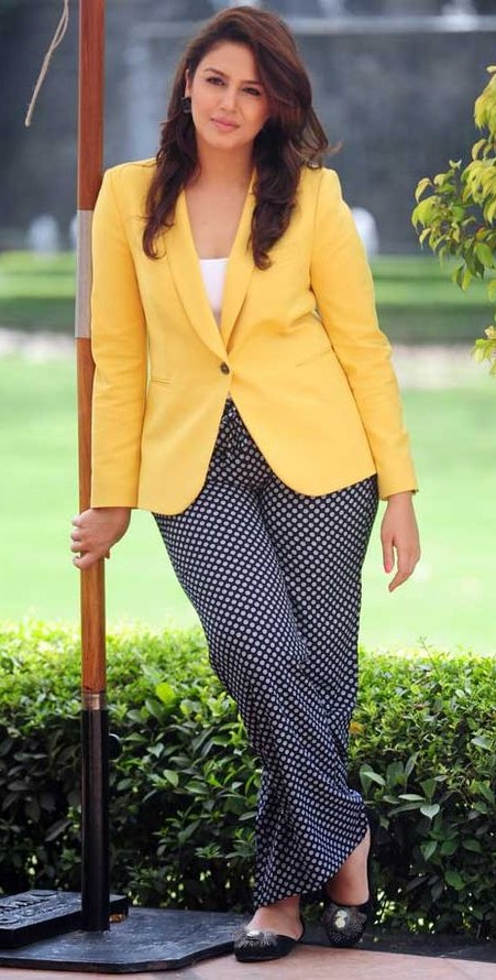 Looking for the similar yellow jacket with black polka dot pants that Huma Qureshi is wearing - SeenIt