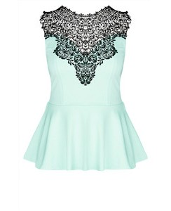 looking for this sky blue lace peplum top - SeenIt
