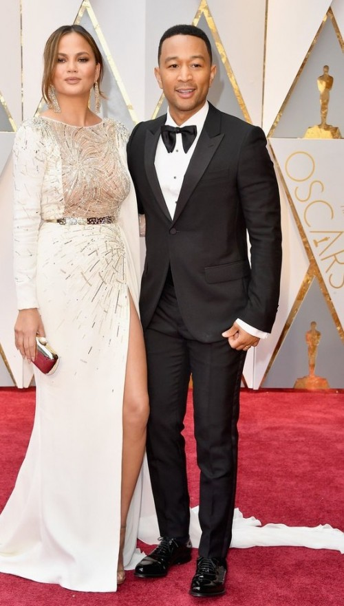 Yay or Nay? John Legend wearing a Gucci suit attends the Oscars with Chrissy Teigen who wore a Zuhair Murad gown - SeenIt