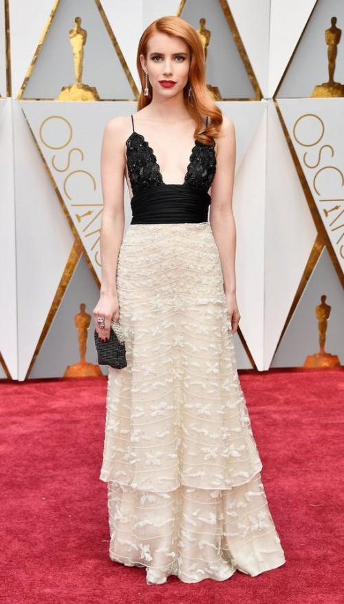 Yay or Nay? Emma Roberts in a plunging Armani Prive dress at the Oscars - SeenIt